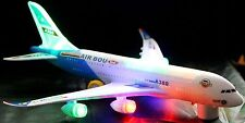 BUMP AND GO ELECTRIC FLASHING MOVING SOUND MUSICAL A380 AIRBUS AIRPLANE TOY 32CM