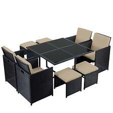 Poly-Rattan Garten-Garnitur Korfu, Lounge-Set 4 Stühle schwarz, Kissen beige