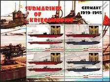 WWII German Submarine U-Boat Stamp Sheet U-37/U-25/U-47/U-592/U-596/U-201/U-453
