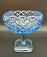 Vintage L.E. Smith Footed Square Compote Candy Dish Blue Basket Weave EUC