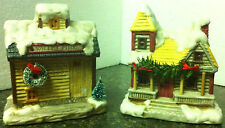 PAIR of SEASONAL 1990 Light-Up Village Pieces -VALLEY MILL Village & Snowy HOUSE