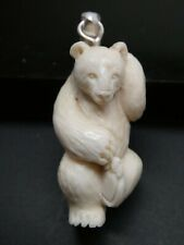 Polar Bear Dancing Carved Water Buffalo Bubalus Bubalis Bone Pendant Necklace