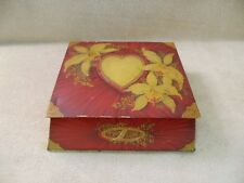 VINTAGE TIN BOX RED & GOLD HEARTS AND FLOWERS