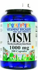 200 Capsule 1000mg MSM Joint Cartilage Support Health Formula Supplement Pill VB