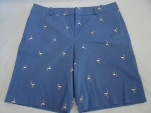 NWT Talbots Womens Short Bermuda Cotton Spandex Size 14P Embroidered Flamingo