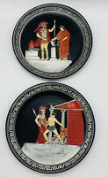 "Greek SET OF 2 HAND-PAINTED DECOR PLATES FROM GREECE Signed 7.1/2""Old VTG"