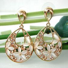Navachi drop Opal Leaves Flower 18K GP Golden Crystal Ear Stud Earrings BH2581