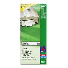 File Folder Labels on Mini-Sheets, 2/3 x 3-7/16, White, 300/Pack