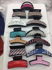 Job Lot 12pc Diamante Hair Clip Claw Grip Claw Clamp Hair Accessories Mixed