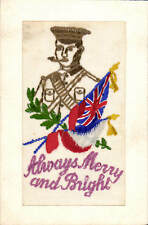 World War 1 Embroidered Silk. Always Merry and Bright. Soldier & Union Jack.