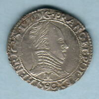 France. 1590-M Henry 111 - Silver Half Franc..  MM-M (Toulouse).. gVF - Scarce