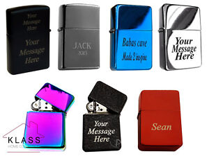 NEW WINDPROOF METAL LIGHTER FREE CUSTOMISED ENGRAVING PERSONALISED MESSAGE GIFT