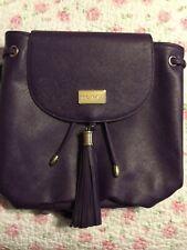 Monat Mini Backpack Handbag Fringe Faux Leather Eggplant Purple NEW