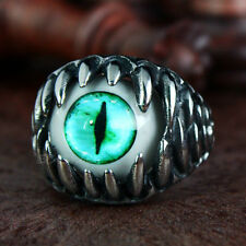 Men's Gothic Biker Dragon Teeth Turquoise Cat Eye Silver Stainless Steel Ring