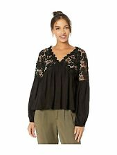 FREE PEOPLE $108 Womens New Black Lace Embroidered V Neck Long Sleeve Top XS B+B