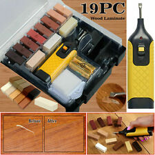 Repair Kit 19pc For Laminate Floor / Worktop Chips Scratches DIY Wax Sturdy Case