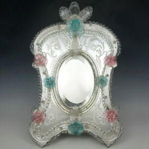 Large Venetian Art Glass Beveled Mirror Vanity Table Wall, Pink & Blue Flowers