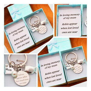 In Loving Memory Gift Keyring -ROBIN APPEAR KEYRING MUM DAD NANNY +GIFT Box (2 )