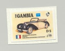 Gambia #626, Automobiles, Bugatti Atlante 1v. imperf chromalin proof mounted
