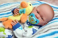 "Baby Boy Doll Realistic 15"" Real Alive Soft Vinyl Washable Preemie Life Like"