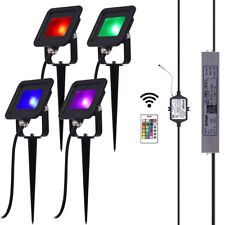4-Pack 10W 12V RGB LED Flood Light Outdoor Accent Colors Landscape Floodlight