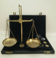 Vintage Brass Hanging Scales Boxed Design with Weights