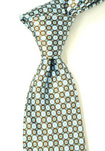 $275 Stefano Ricci Satin Red Blue & White Geometric Print Silk Neck Tie NWT 3.5W