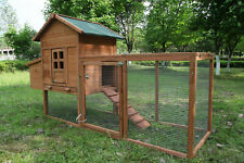 80'' Wooden Chicken Coop Hen House Poultry Pet Hutch Nest Box Run Ramp Large