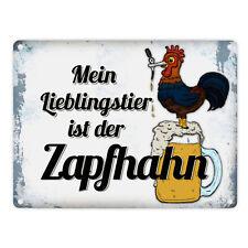 Metallschild Zapfhahn mit Spruch: Mein Lieblingstier ist der Zaphahn Bier
