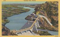 Linen Postcard A718 Coolidge Dam Arizona US 180 Globe Safford AZ Ariz San Carlos
