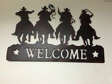 New listing Rustic Western Cowboy Horse Lasso Silhouette Welcome Sign Wall Art Decor