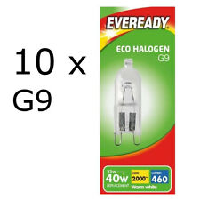 10 x Eveready G9 33=40W Halogen Bulb 460 Lumens 220V Clear Capsule Lamp DIMMABLE