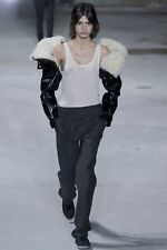 Saint Laurent YSL RUNWAY Shearling Black Leather Sleeve Gloves Outfit