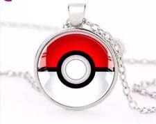 "Pokemon Pokeball Cabochon Dome Pendant Necklace Silver 1"" Diameter US Seller"
