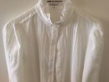 CLAUDIE PIERLOT CELESTE WHITE COTTON SHIRT WITH EMBROIDERY COLLAR SIZE 36