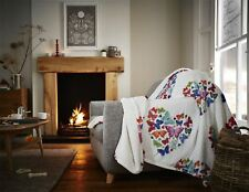 Butterfly Hearts White Soft Warm Cosy Sherpa Fleece Flannel Sofa Throw Blanket