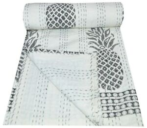 Indian Handmade Pineapple Print Kantha Quilt Bedspread Reversible Blanket Throw