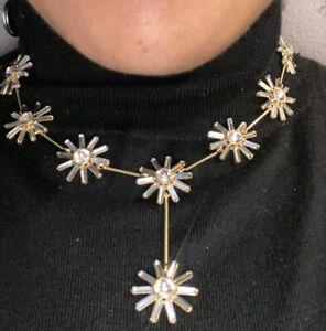 J.Crew Colorblock Crystal Flower Necklace Black Diamond Bag $98 New
