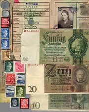 NAZI BANKNOTE, COIN, AUSWEIS AND STAMP SET  # 19