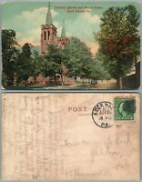 LOCK HAVEN PA WATER STREET CATHILIC CHURCH 1913 ANTIQUE POSTCARD