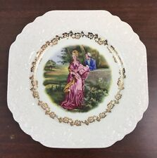 """Vintage 9"""" LORD NELSON POTTERY England Courting Couple Plate, Gold Floral Edge"""