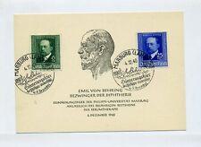 1940 3.Reich illust. Sonderkarte Gedenkblatt Emil von Behring Minr 760 + 761 SST