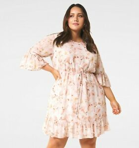 New with Tags FOREVER NEW Molly Curve Frill Sleeve Dress- size 16 - RRP $139.99