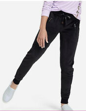 Justice Girls Velour Soft Joggers Black With Faux String Size 12