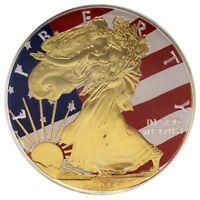 2014 1OZ OUNCE AMERICAN EAGLE FLAG SILVER COLORIZED 24K GILDED COIN 999 BU