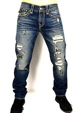 True Religion Men's Geno Distressed/Repaired Relaxed Slim Super T Jeans ME08NYL7