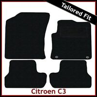 CITROEN C3 Mk2 2009-2017 Fully Tailored Fitted Carpet Car Floor Mats BLACK