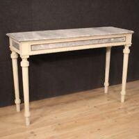 Console mobile tavolo in legno laccato dorato dipinto stile antico da salotto