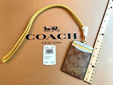 COACH ID Holder Case Lanyard Signature Canvas Khaki Sunflower Gold F63274 NEW