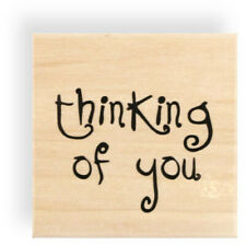 Square Wood Mounted Rubber Sentiment Stamp 'thinking of you'